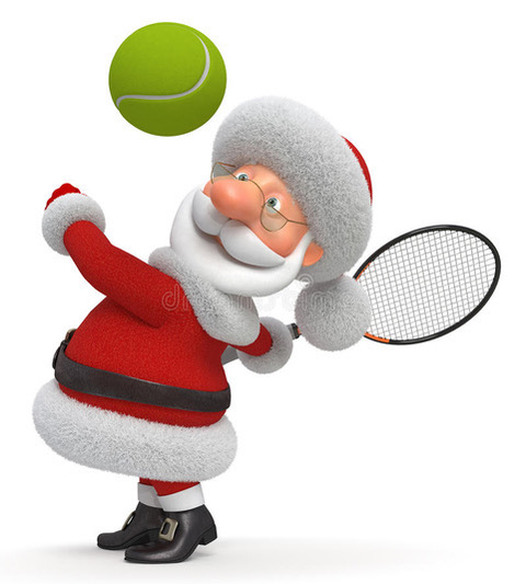 santa playing tennis